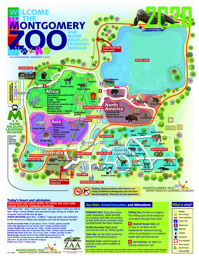 Old Australia Zoo Map.Zoo Map And Sections City Of Montgomery